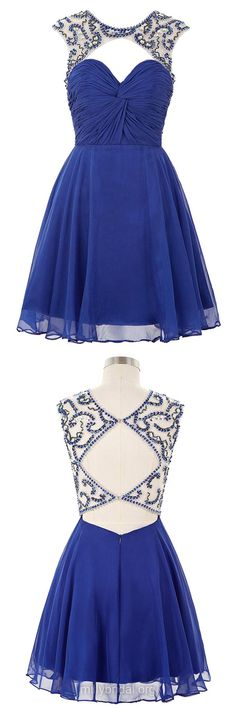 Cheap Prom Dresses,Short Homecoming Dresses,A-line Scoop Neck Chiffon Cocktail Dress, Tulle Short/Mini Party Gowns,Beading Open Back Royal Blue Formal Evening Dress