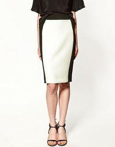 falda lapiz bicolor
