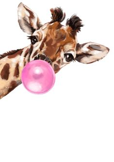 Sneaky Giraffe Blowing Bubble Gum Art Print by Big Nose Work iCanvas Giraffe Painting, Giraffe Art, Giraffe Drawing, Canvas Artwork, Canvas Prints, Blowing Bubble Gum, Tableau Pop Art, Animal Drawings, Cute Wallpapers