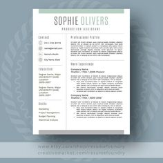 Stylish Resume Template / CV Template Cover by ResumeFoundry