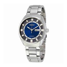 Seiko Men's 'Recraft Series' Japanese Automatic Stainless Steel Dress Watch (Model: SNKN73). Round silver-tone watch with quartered two-tone dial, day/date window at 3 o'clock, placed indexes at outer ring, and minute track interior. 44 mm stainless steel case with Hardlex dial window. Self-winding Japanese automatic movement (41-hour power reserve) with analog display. Three-link stainless steel band with fold-over clasp and double push-button safety. Water resistant to 50 m (165 ft): In...