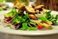 Raw Marinated Mushroom Sauté with Green Salad and Mustard Dressing