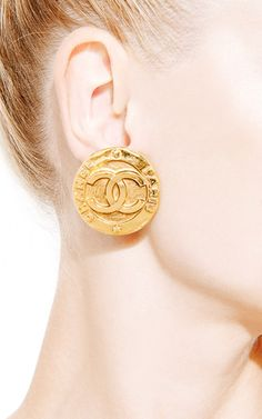 Vintage Chanel Large Cc Clip Earrings From What Goes Around Comes By