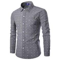 Men Dress Shirt New Arrival Long Sleeve Star Pattern Casual Slim Shirt M-XXL