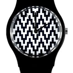 May 28th Watch - Black & White Zig Zag 10:29AM Watch with Plastic Strap