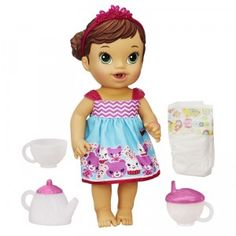 The Baby Alive Teacup Surprise Baby drinks and wets, and comes with a color-changing tea set.