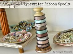 Repurposed Typewriter Ribbon Spools