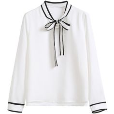 White Striped Collar And Cuff Blouse (€23) ❤ liked on Polyvore featuring tops, blouses, clothing - ls tops, white, tie collar blouse, striped blouse, pattern blouses, collar blouse and long sleeve tops