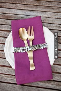 So cool - Simple glitz. | CHECK OUT MORE GREAT PURPLE WEDDING IDEAS AT WEDDINGPINS.NET | #weddings #wedding #purplewedding #purpleweddingphotos #events #forweddings #iloveweddings #purple #romance #vintage #planners #ilovepurple #ceremonyphotos #weddingphotos #weddingpictures
