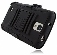 For Samsung Galaxy S 4 Active i537 Side Stand Cover Case With Holster - Black+Black