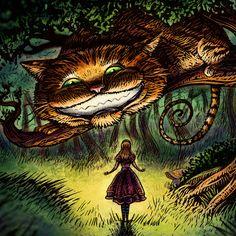 Alice in Wonderland and Cheshire Cat Art (by ChetArt)