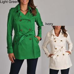 Welcome the cold weather with this stylish Tommy Hilfiger womens trench coat. Available in ivory or light green, these classic double-breasted jackets have a chic belted waist and cute cuff tabs. Water-resistant material makes them rain-friendly.