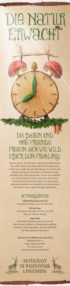 Die Natur sowie die Tatsache, dass auch das Fleisch für die Gerichte des Restaurants aus dem Wildnispark stammt, diente Strebel Juon als Inspiration für verschiedene Newsletter.