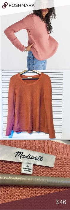 Madewell Riverside Knit Crewneck Mauve Sweater Comfortable, flattering sweater with small knit and crewneck. Good used condition, minor pilling throughout and under the arms. Madewell Sweaters Crew & Scoop Necks