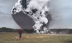 The historic Hindenberg Disaster of May 6, 1937, blended with a photo of the site today. See more of these unique photos by Seth Taras.