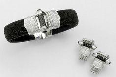 Caviar Stingray Cuff  -  black and white stingray diamond cuff and earrings @Orlanda Olsen #GoldenGlobes05