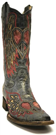 Corral Women's Black/Antique Saddle Wing & Heart Western Boots -- These are a great pair of boots for the bride or her lovely bridesmaids to wear. | www.SouthTexasTack.com