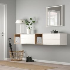 EKET Wall-mounted cabinet combination - white/white stained oak effect - IKEA Innenarchitektur-Ideen Ikea Wall Cabinets, Ikea Eket, Ikea Hack, Ikea Living Room, Painted Drawers, White Stain, Ikea Furniture, Furniture Online, Furniture Movers