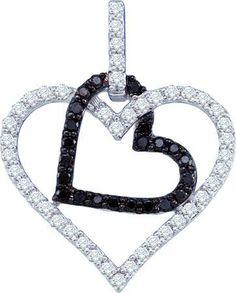 10KT White Gold 0.51CTW BLACK DIAMOND HEART PENDANT