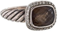 Sterling silver David Yurman cocktail ring with smoky quartz at center and diamond halo.