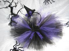 Witch tutu Halloween costume  black and purple Witch by JoowaBean