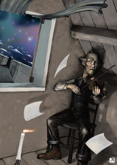 Erich Zann is in fear for his life. At this moment in the story, a strong wind comes in which was so strong that the papers started to fly. The candle is lit, but eventually it goes out into complete darkness. You can see the fear in Erich Zanns face, his skin yellowish with a tint and him playing the music to try to keep this creature away.