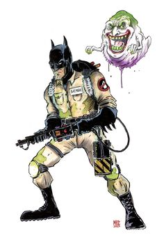 Ghostbuster Batman with Joker-Slimer