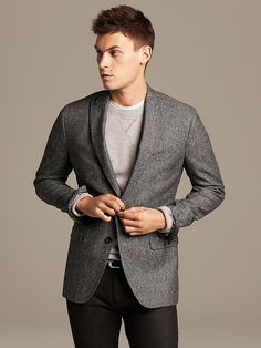 Tailored-Fit Textured Wool Blazer Product Image