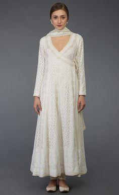 Pre-Order Ivory Chikankari With Kamdani Angrakha Suit INR. Indian Fashion Dresses, Dress Indian Style, Pakistani Dress Design, Pakistani Outfits, Pakistani Kurta, Ethnic Outfits, Indian Outfits, Anarkali Dress, Anarkali Suits