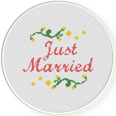 FREE Just Married Word Cross Stitch Pattern