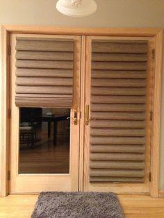 Hunter douglas  Vignette modern roman shades on my french door, custom with literise