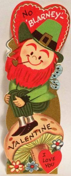 J1194 60s No BLARNEY Leprechaun! Vintage Unused Diecut Valentine Card