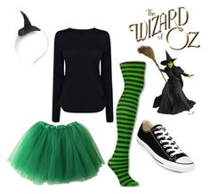 """Modern DYI wicked witch of the west costume"" by ichelle-montoya on Polyvore featuring Helmut Lang, Crown and Glory, Converse and modern"