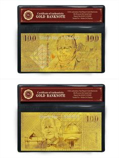 2016 Direct Selling Coins Craft Vintage Home Decor Aud 100 Banknote 999.9 Pure Gold Paper Fake Money Australian Bill Bank Notes $2