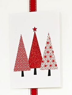 Make a three trees Christmas card :: Make Christmas cards Christmas Card Crafts, Homemade Christmas Cards, Christmas Cards To Make, Christmas Art, Homemade Cards, Handmade Christmas, Holiday Cards, Christmas Letters, Wrapping Paper Crafts