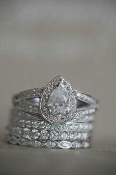 Stacking diamond rings around engagement ring and wedding band. Bling Bling, Diamond Rings, Diamond Engagement Rings, Pear Diamond, Gold Ring, Diamond Jewelry, Jewelry Box, Jewelry Accessories, Jewlery