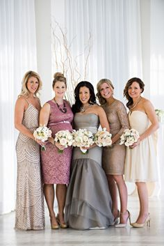 Elegant mix and match bridesmaids: http://www.stylemepretty.com/rhode-island-weddings/newport-ri/2014/07/31/modern-meets-classic-newport-wedding/   Photography: Snap! - http://snapri.com/