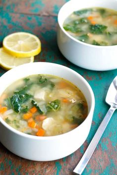 Clean Eating Lemon Chicken Quinoa Soup - a healthy soup recipe that comes together in 30 minutes!