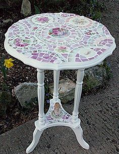 Pink Rose Mosaic Tile Table~Shabby~ with porcelain figure by hillspeak, via…