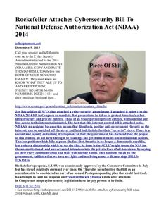 Rockefeller attaches cybersecurity bill to national defense authorization act (ndaa) 2014 INFOWARS.COM BECAUSE THERE'S A WAR ON FOR YOUR MIND