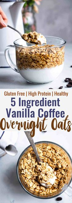 Vanilla Latte Overnight Oats - These gluten free overnight oats with Greek yogurt are a simple, 5 ingredient and protein packed way to start your day! Make them ahead for easy mornings! | #Foodfaithfitness | #glutenfree #healthy #breakfast #Greekyogurt #overnightoats
