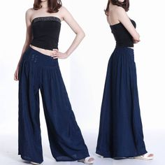 Wide Leg Pants Women White Linen Pants Long Trousers Plus Size ...