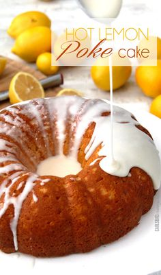Award winning Hot Lemon Poke Cake - moist, sweet, lemon cake with the most amazing sweet citrus glaze seeping into the cake.