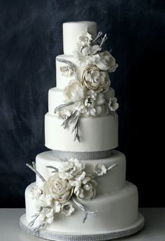 Pale grays and white make for a frosty winter cake.