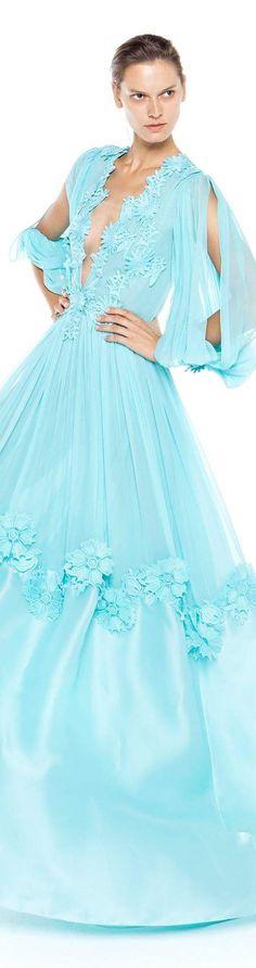 Christos Costarellos spring summer 2016 Turquoise Fashion, Blue Fashion, Colorful Fashion, Runway Fashion, Fashion Show, Fashion 2016, Banquet Dresses, Gala Dresses, Spring Dresses