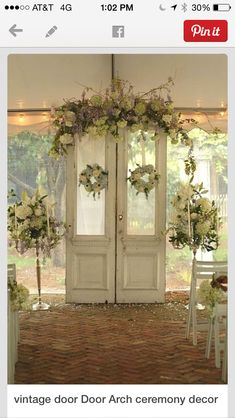 Using vintage door for any kind of backdrop behind cake table for your escort card display entrance to the wedding. Love these doors Comments:GemJunkieJewels