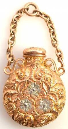 13k Gold Ornate Flower Perfume Bottle Pendant