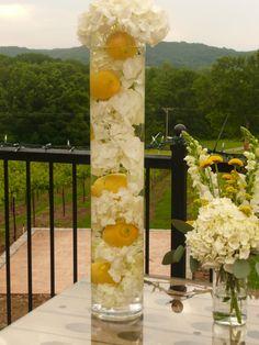 hydrangea and cylinder vases | Hydrangeas and Lemons!