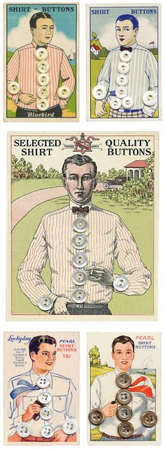 Vintage shirt button cards