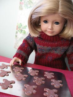 A Doll for all Seasons: Easy to Make: A Doll-Sized Cookie Sheet with Gingerbread Men! American Girl Doll tutorial diy play fun